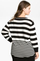 Vince Camuto Stripe Elbow Sleeve Sweater in Black (rich black) - Lyst