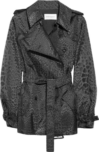 Saint Laurent Metallic Leopard Jacquard Trench Coat in Animal (leopard)