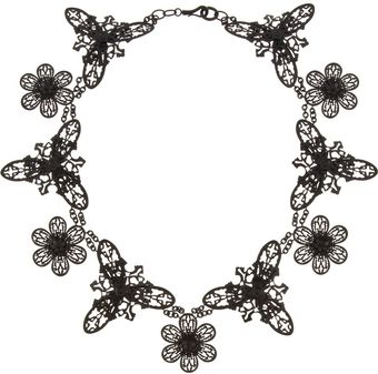 Bottega Veneta Blackened Oxidizedsilver Floral Lace Necklace - Lyst