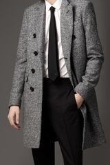 Burberry Donegal Wool Chesterfield Coat in Black for Men - Lyst