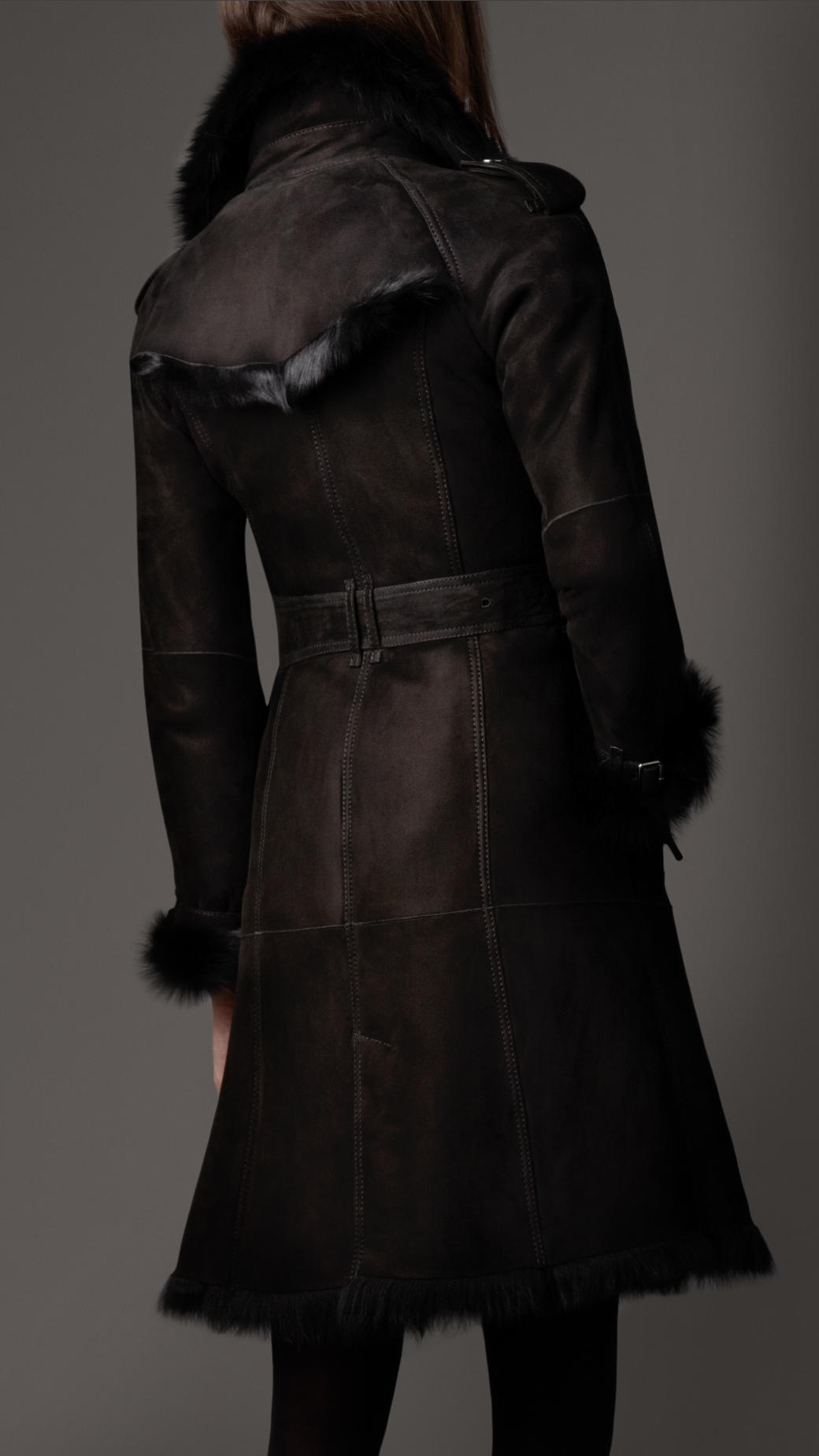 Burberry Shearling Trench Coat In Black Lyst