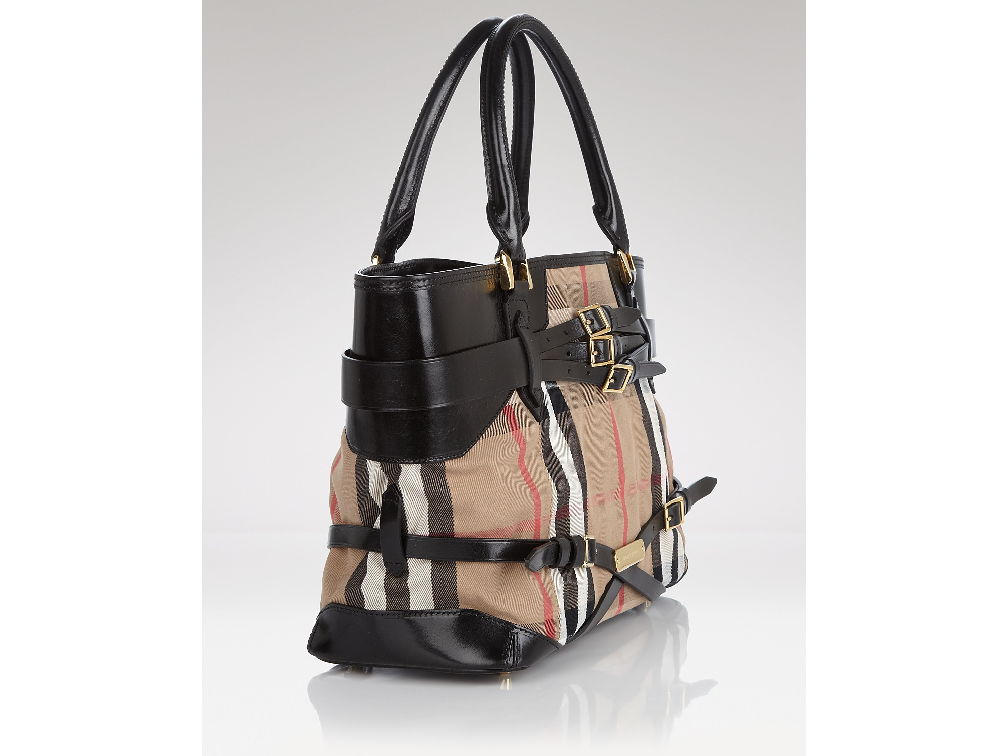 Lyst - Burberry Tote Bridle House Check Medium Lynher in Black 73064323fcea1