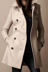 Burberry Brit Midlength Wool Twill Trench Coat - Lyst