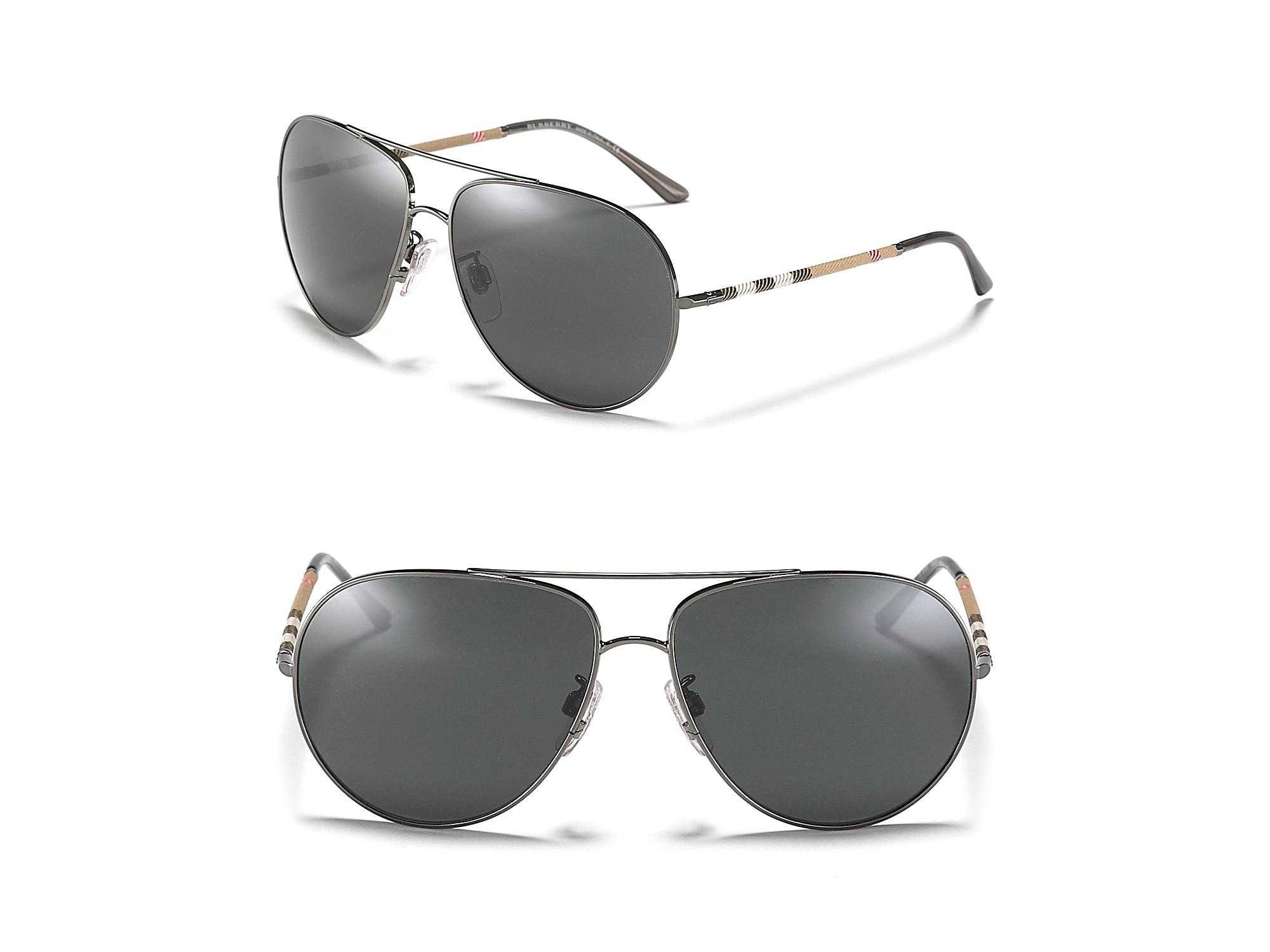e078b91f107 Lyst - Burberry Mens Aviator Wrap Check Temple Sunglasses in ...