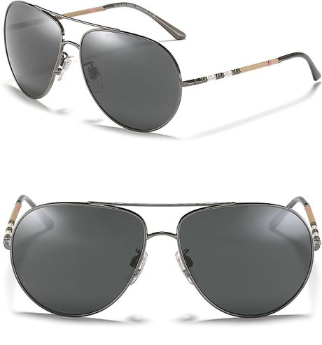 31c7039f51 Burberry Mens Aviator Wrap Check Temple Sunglasses in Silver for Men (dark  silver)