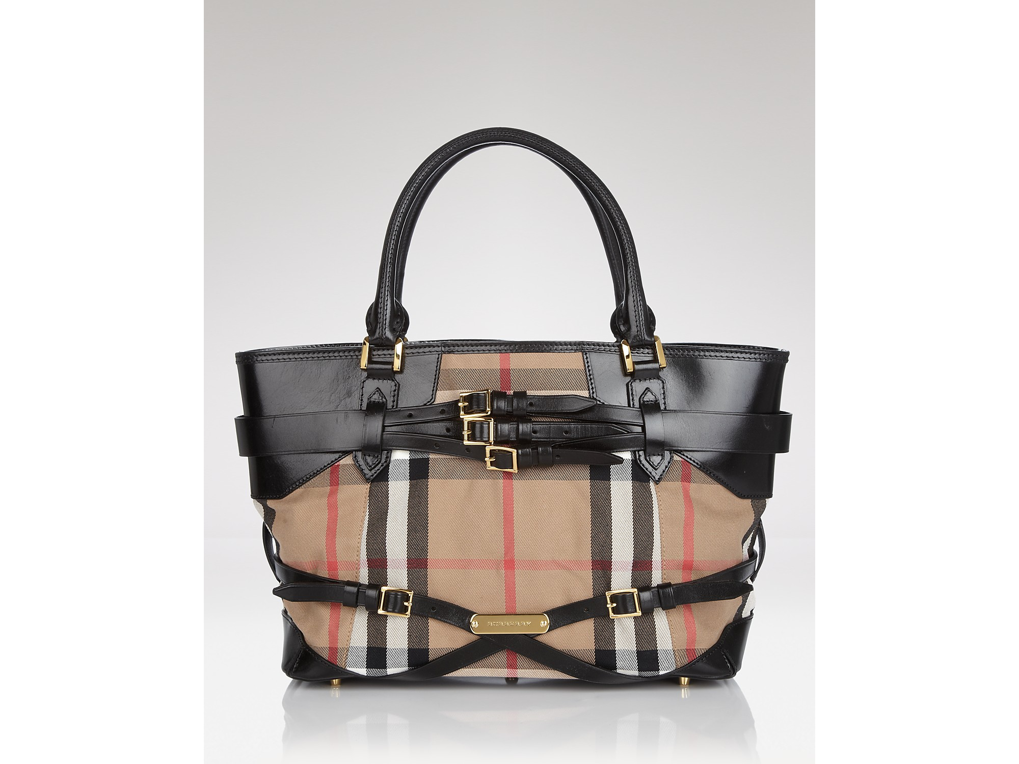 Lyst Burberry Tote Bridle House Check Medium Lynher In Black