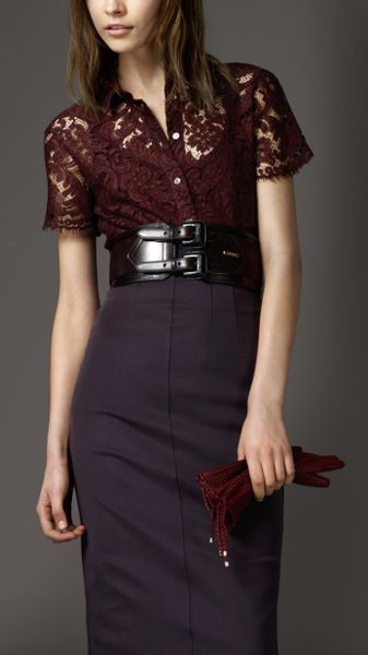 Burberry Scallop Edge Lace Shirt in Red (elderberry) - Lyst