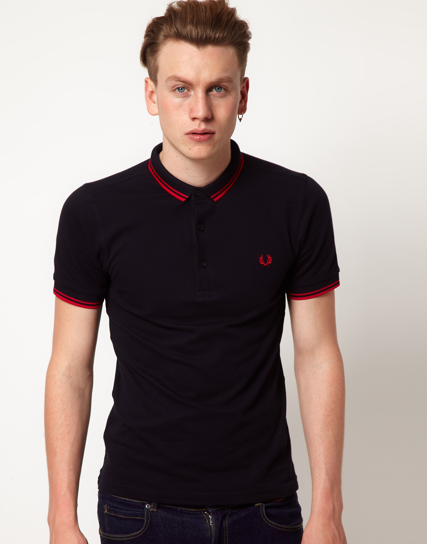 fred perry fred perry slim fit small collar polo exclusive to asos in blue for men lyst. Black Bedroom Furniture Sets. Home Design Ideas