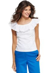 Jones New York Sleeveless Cotton Ruffle - Lyst