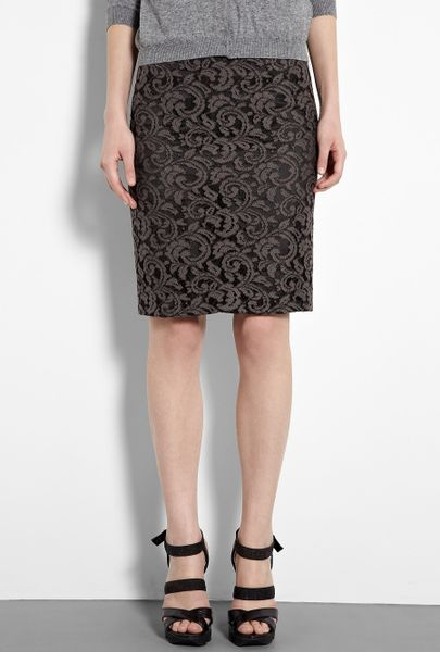 moschino cheap chic lace pencil skirt in gray charcoal