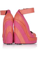Pierre Hardy Canvas and Leather Platform Wedge Sandals in Pink - Lyst