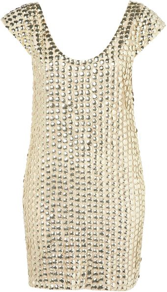 Topshop Coin Scoop Back Dress By Dress Up Topshop - Lyst