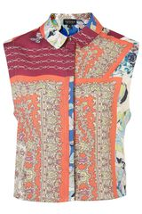 Topshop Crop Mix and Match Print Shirt - Lyst