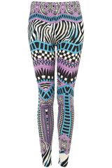 Topshop Zebra Aztec Print Legging in Purple - Lyst