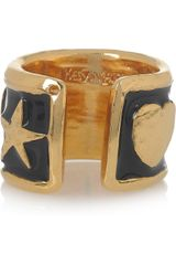 Yves Saint Laurent Ycons Enameled Goldplated Ring in Gold - Lyst