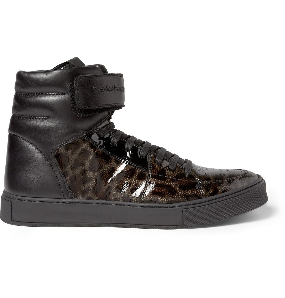 saint laurent leopardprint patent leather high top sneakers in black for men leopard lyst. Black Bedroom Furniture Sets. Home Design Ideas