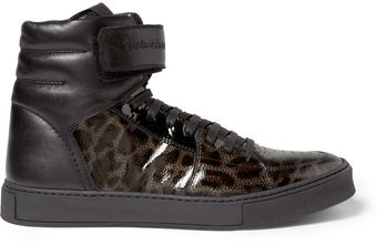 Yves Saint Laurent Leopardprint Patent Leather High Top Sneakers - Lyst