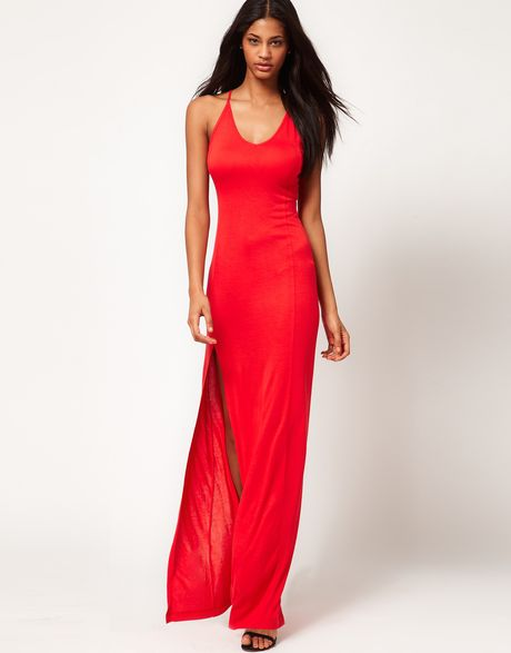 asos collection asos slip maxi dress in red lyst. Black Bedroom Furniture Sets. Home Design Ideas