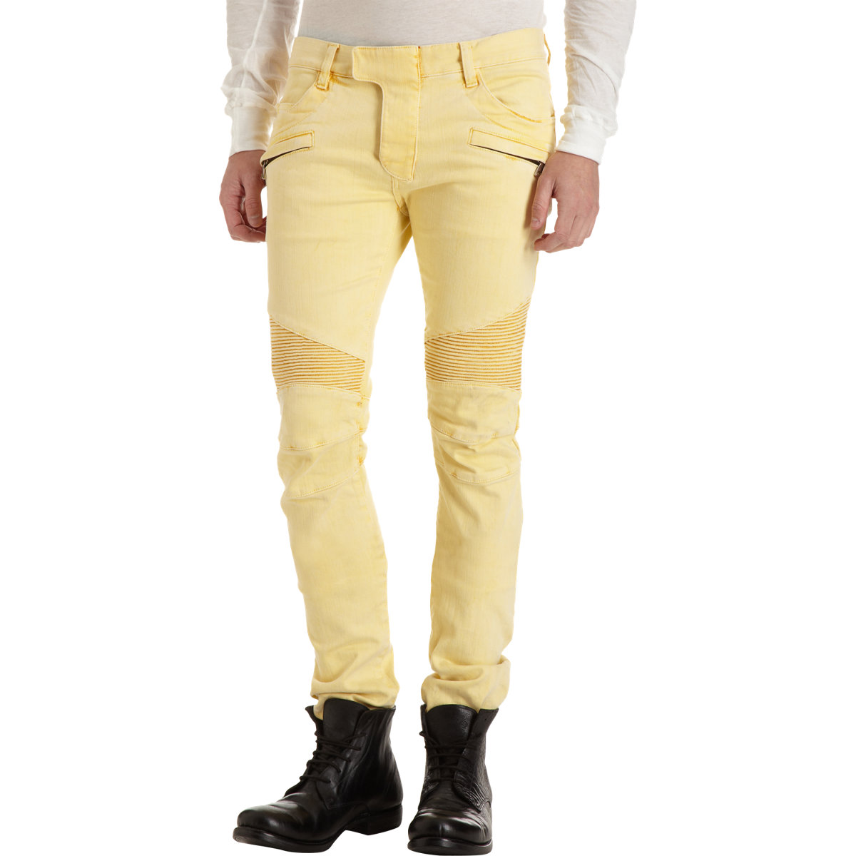 cdd5b700 Balmain Biker Jean in Yellow for Men - Lyst