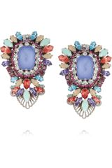 Erickson Beamon  Gunmetal-Plated Swarovski Crystal Clip Earrings - Lyst