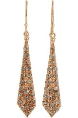 Fabrizio Riva Red Gold Brown Diamond Long Spear Earrings