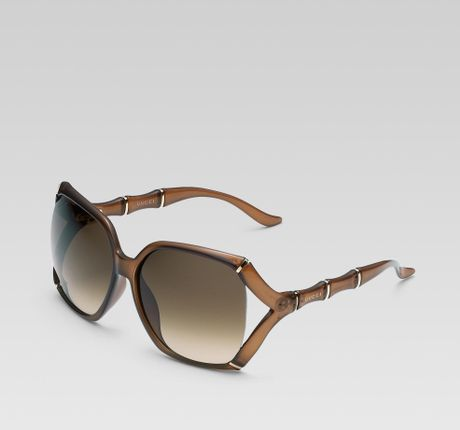 Gucci Bamboo Frame Glasses : Gucci Large Rectangle Frame Sunglasses with Bamboo Effect ...