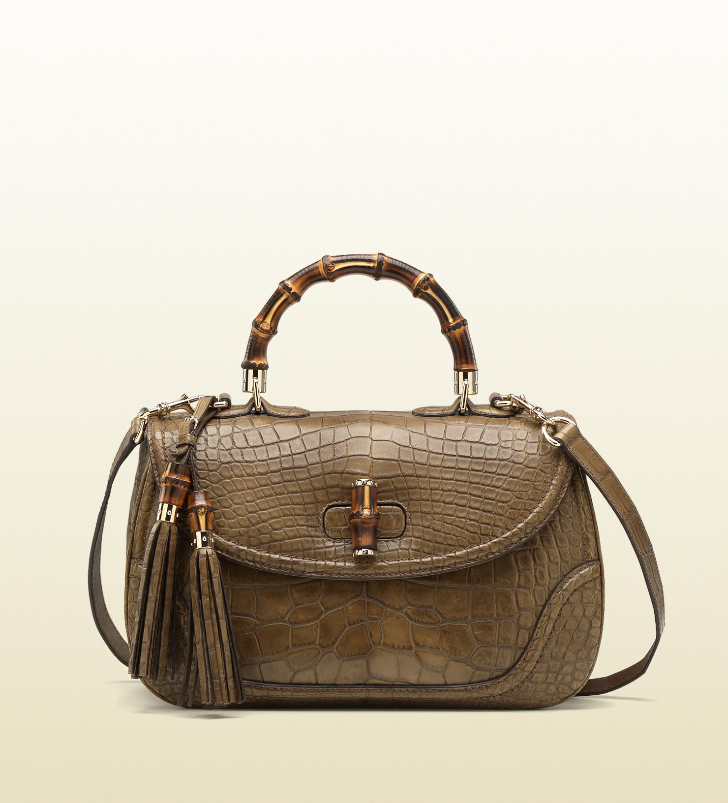38975cbd8af7 Gucci New Bamboo Crocodile Top Handle Bag in Brown - Lyst
