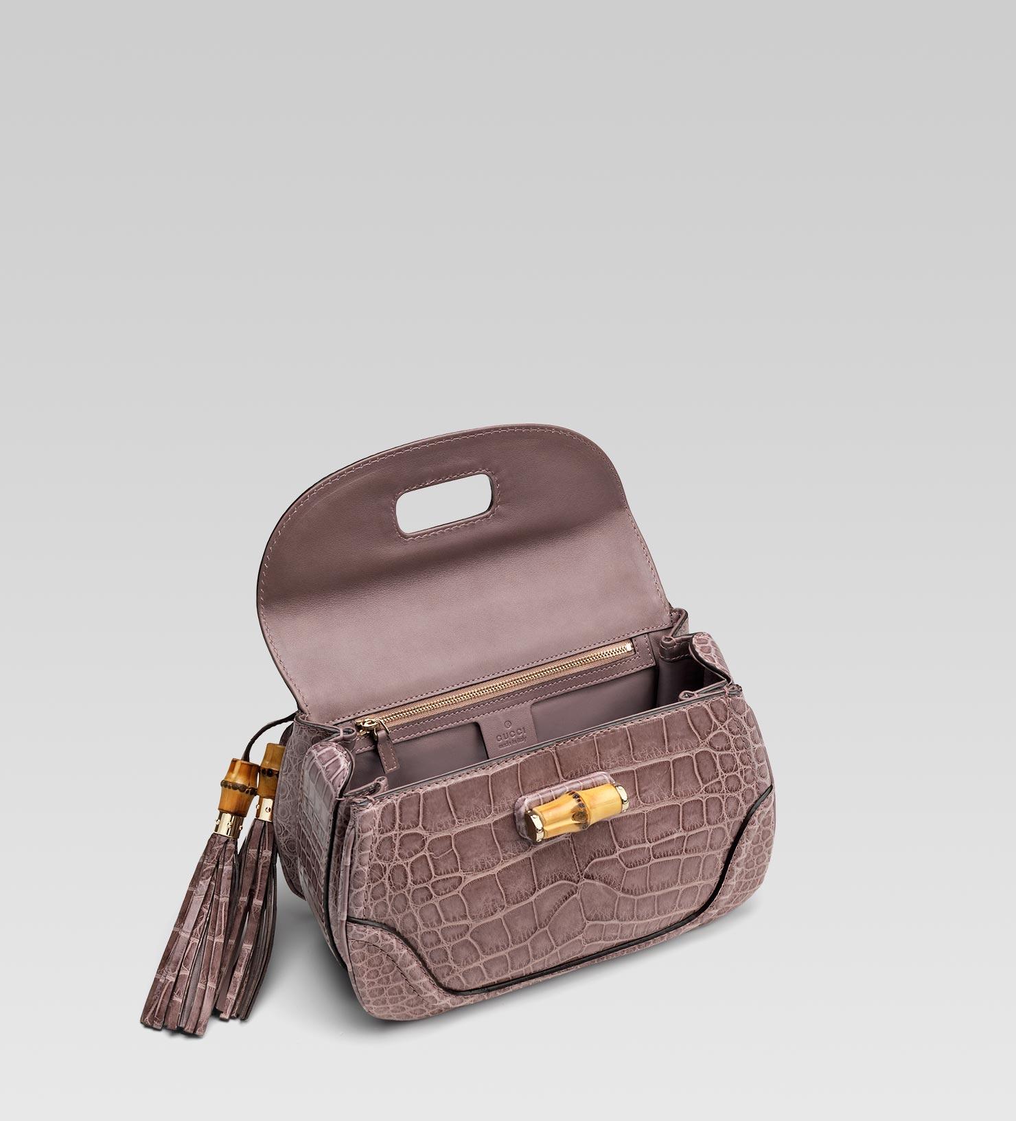 a2f2f5068605 Gucci New Bamboo Crocodile Top Handle Bag in Purple - Lyst