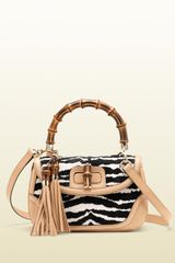 Gucci New Bamboo Beigeblack Zebra Print Calf Hair Leather Top Handle Bag - Lyst