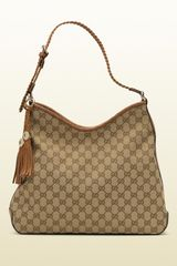 Gucci Marrakech Medium Hobo with Woven Leather Trim and Tassels with Metal G Details - Lyst