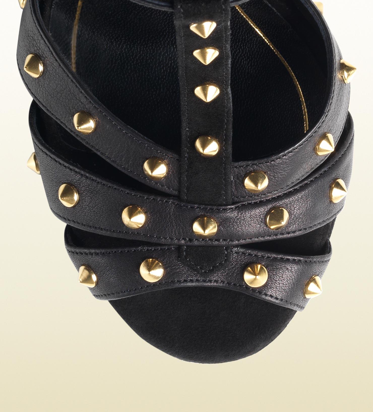 f57136c557 Gucci Jacquelyne Studded Strappy High Heel Platform Sandal in Black ...
