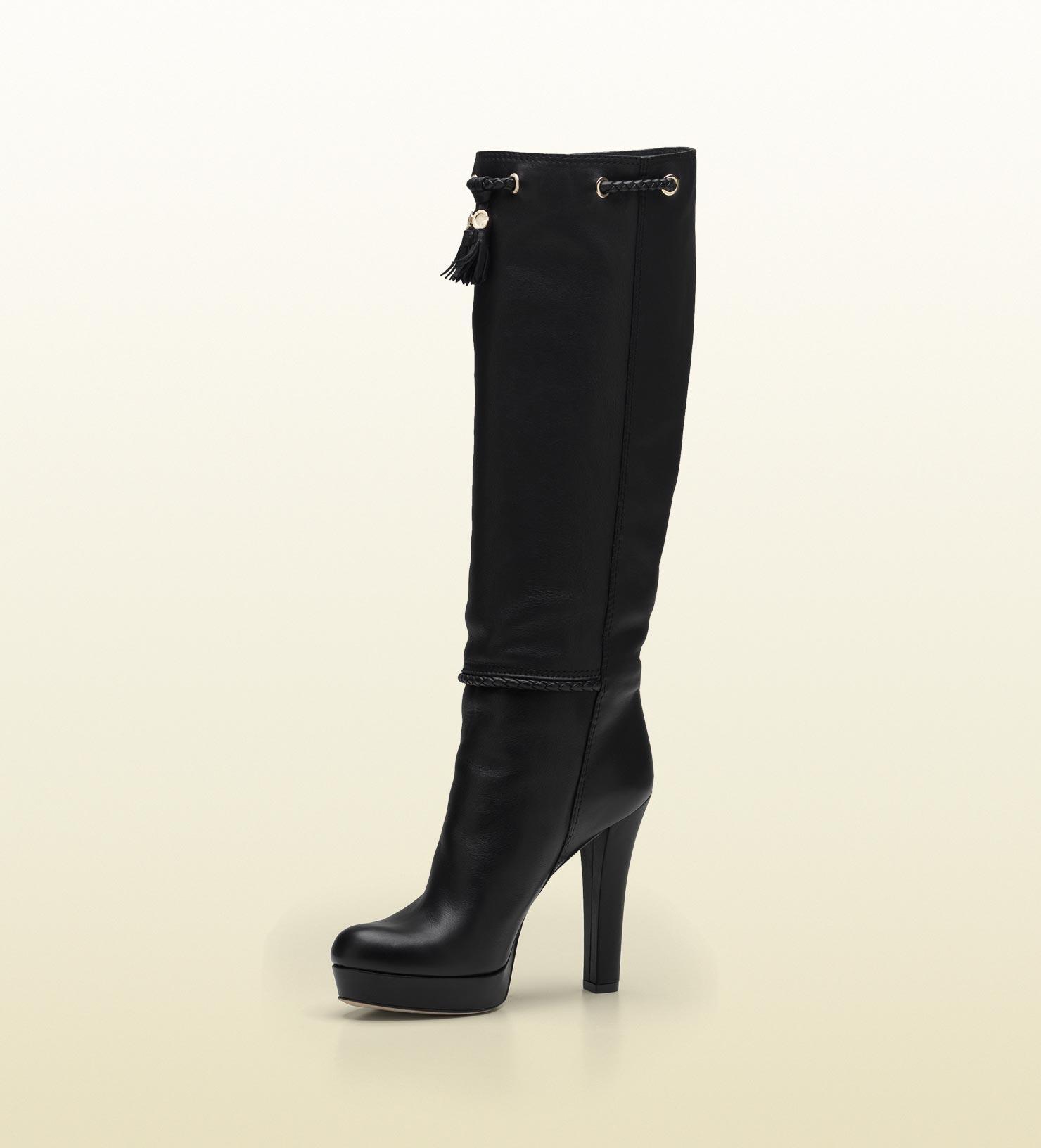 957ce23e2a7 Gucci Marrakech High Heel Platform Boot with Tassels and Metal G ...