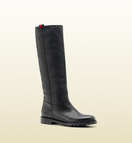 gucci moritz high flat boot with signature web