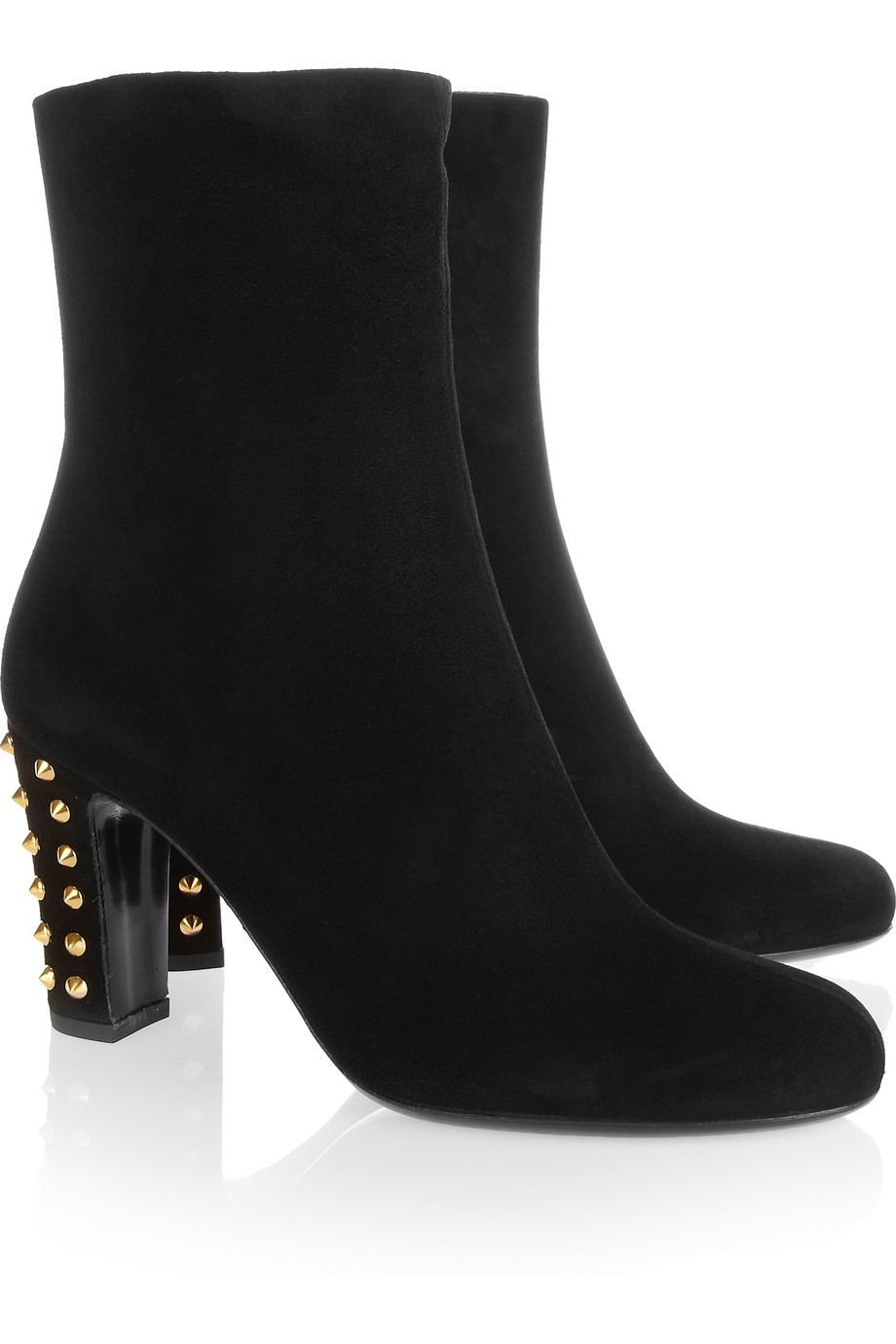 gucci studded suede boots in black lyst