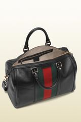 Gucci Vintage Web Boston Bag in Black - Lyst