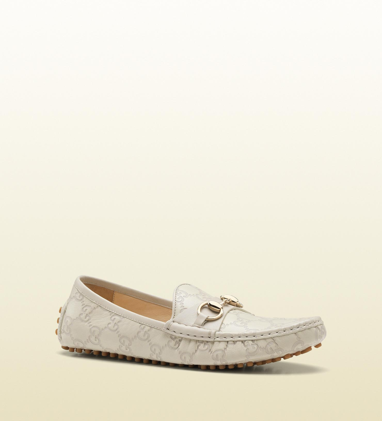 1dcc6b2b432 Gucci Driver With Horsebit Detail in White