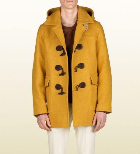 Gucci Montgomery Jacket with Detachable Hood in Yellow for Men