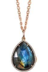 Irene Neuwirth Labradorite Diamond Pear Shaped Locket Necklace - Lyst