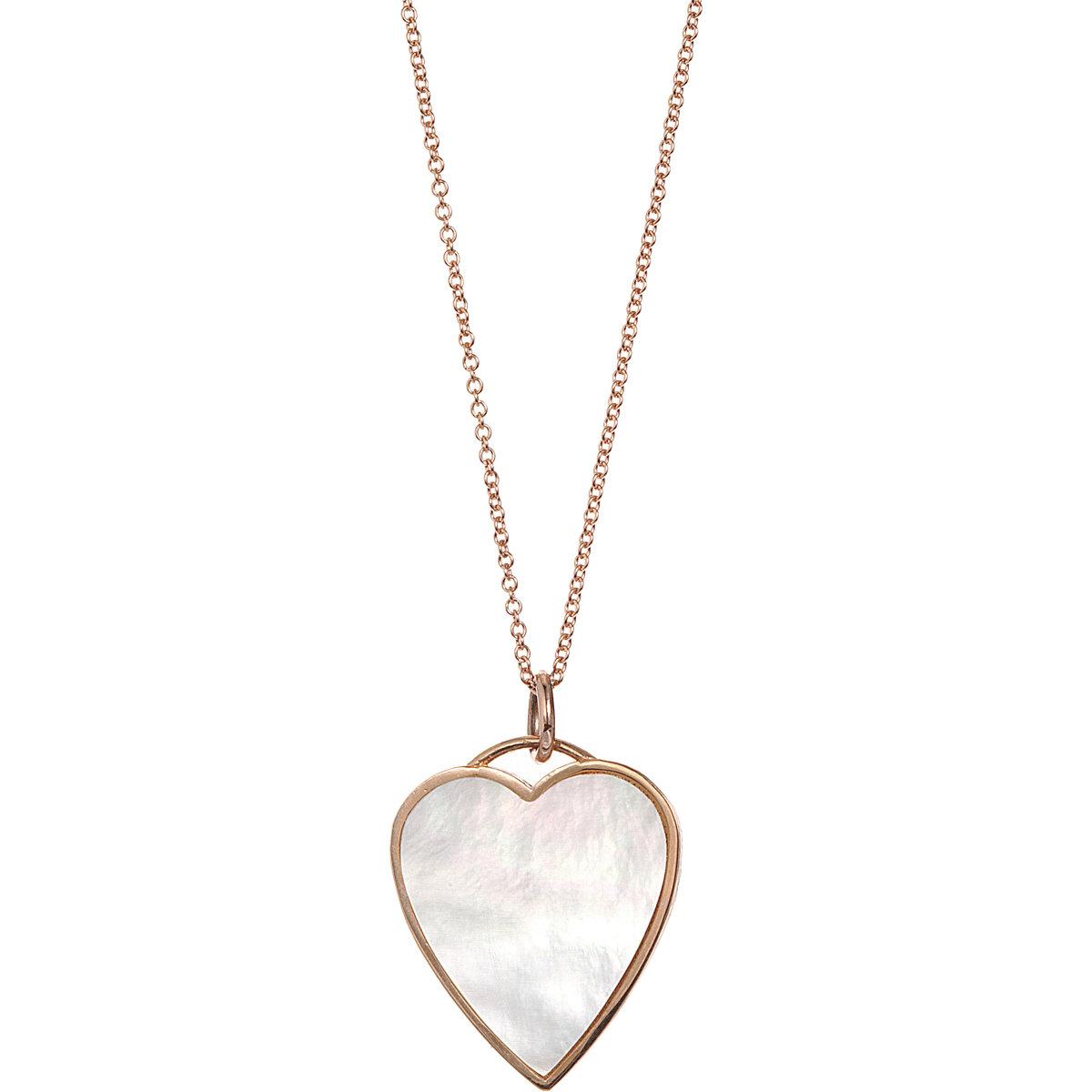 Jennifer Meyer Rose Gold Mother Of Pearl Heart Pendant