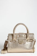 Jimmy Choo Rosalie Glitter Leather Satchel in Gold - Lyst