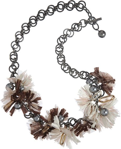 Lanvin Raffia Mask Flower Small Necklace in White (silver) - Lyst