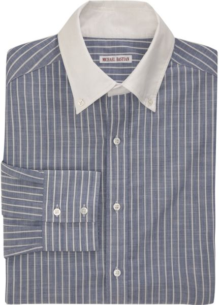White With Thin Blue Stripes French Cuff Shirt Blue Collar