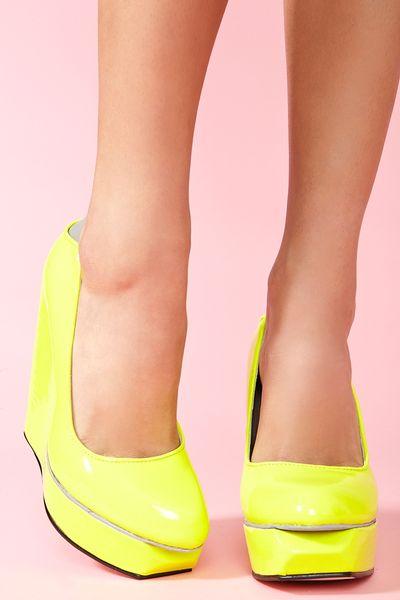 Nasty Gal Agnes Platform Wedge Neon Yellow In Yellow Lyst