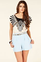 Oasis Tribal Placement Tee in White (neutral) - Lyst