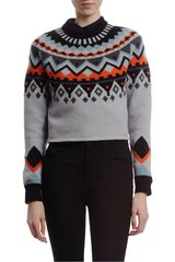 Proenza Schouler Intarsia Stripe Sweater in Gray (orange) - Lyst