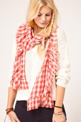 Ralph Lauren Denim Supply Check Scarf in Red - Lyst