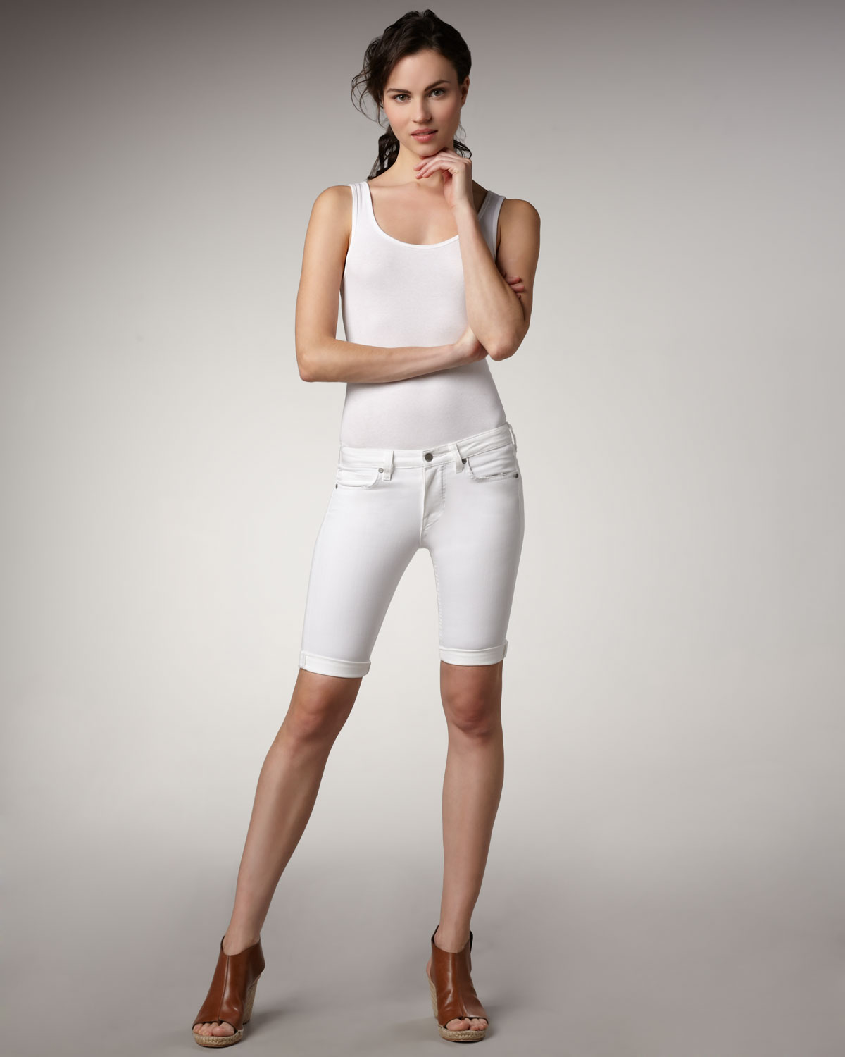 Vince Denim Bermuda Shorts, White in White | Lyst