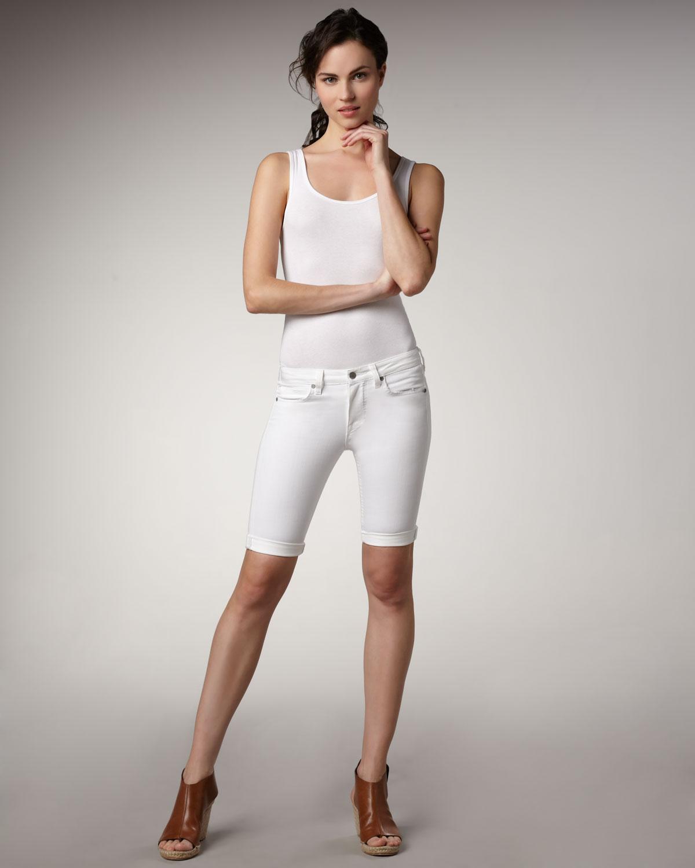 Vince Denim Bermuda Shorts, White in White   Lyst
