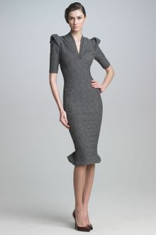 Zac Posen Sculpted Tweed Dress - Lyst