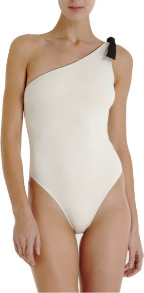 3.1 Phillip Lim One Shoulder Swimsuit in White - Lyst